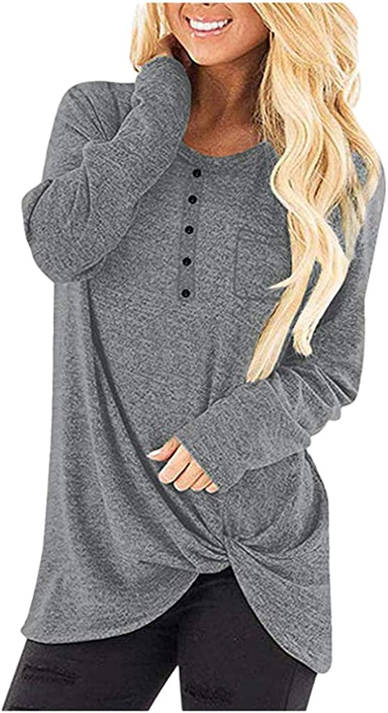 Sunmoot Clearance Sale Women's Casual Crew Neck Long Sleeve T-Shirt Comfy Twist Knot Tunics Baggy Loose Fit Plain Tops