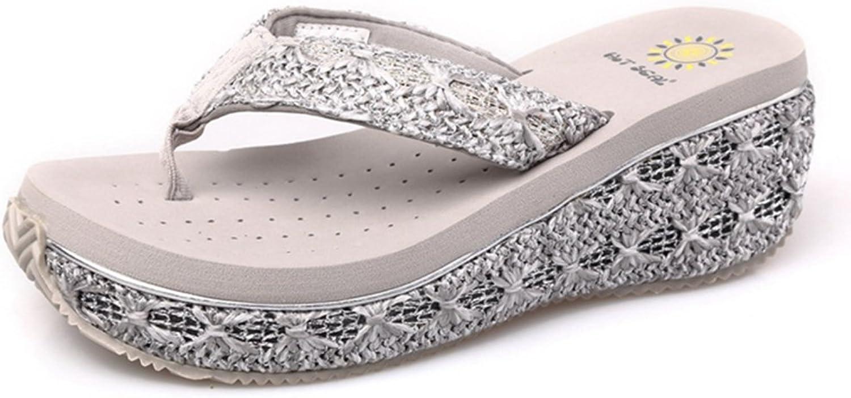 GIY Womens Platform Slides Sandal Summer Open Toe Outdoor Flatform Slip On Flip-Flops Wedges Sandals