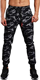 FASKUNOIE Men's Camo Jogger Slim Fit Quick Dry Running Pants with Zipper Pockets