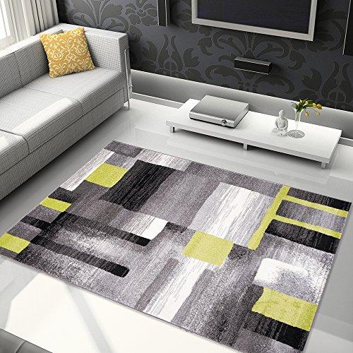 Tapiso Jawa Alfombra Salón Comedor Dormitorio Diseño Moderno Gris Blanco Amarillo Rayas...