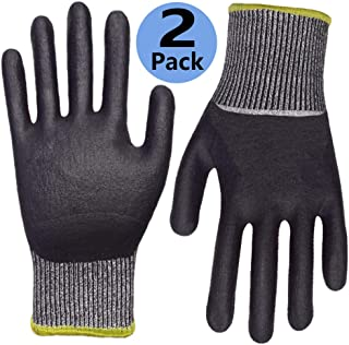 Cut Resistant Work Gloves 2 Pack, Grip Coating Level 5 Protection Safety Garden Wood Carving Automotive Outdoor Activities.