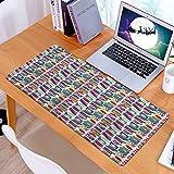 Alfombrilla Ratón Grande Gaming Mouse Vegetal Colorido Opciones Veganas Formas geométricas Coloridas Tema de Comida Ilustración de Dibujos Animados Multicolor,Base de Goma, Portátil, Ordenador