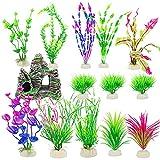 Abanok - Set de decoración para acuario, 14 unidades, plantas acuáticas artificiales y piedras artificiales para acuario, decoración de paisaje