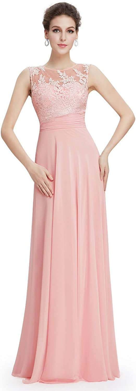 Indifashion Everpretty Women Pink Bridesmaid Formal Elegant Long Dress
