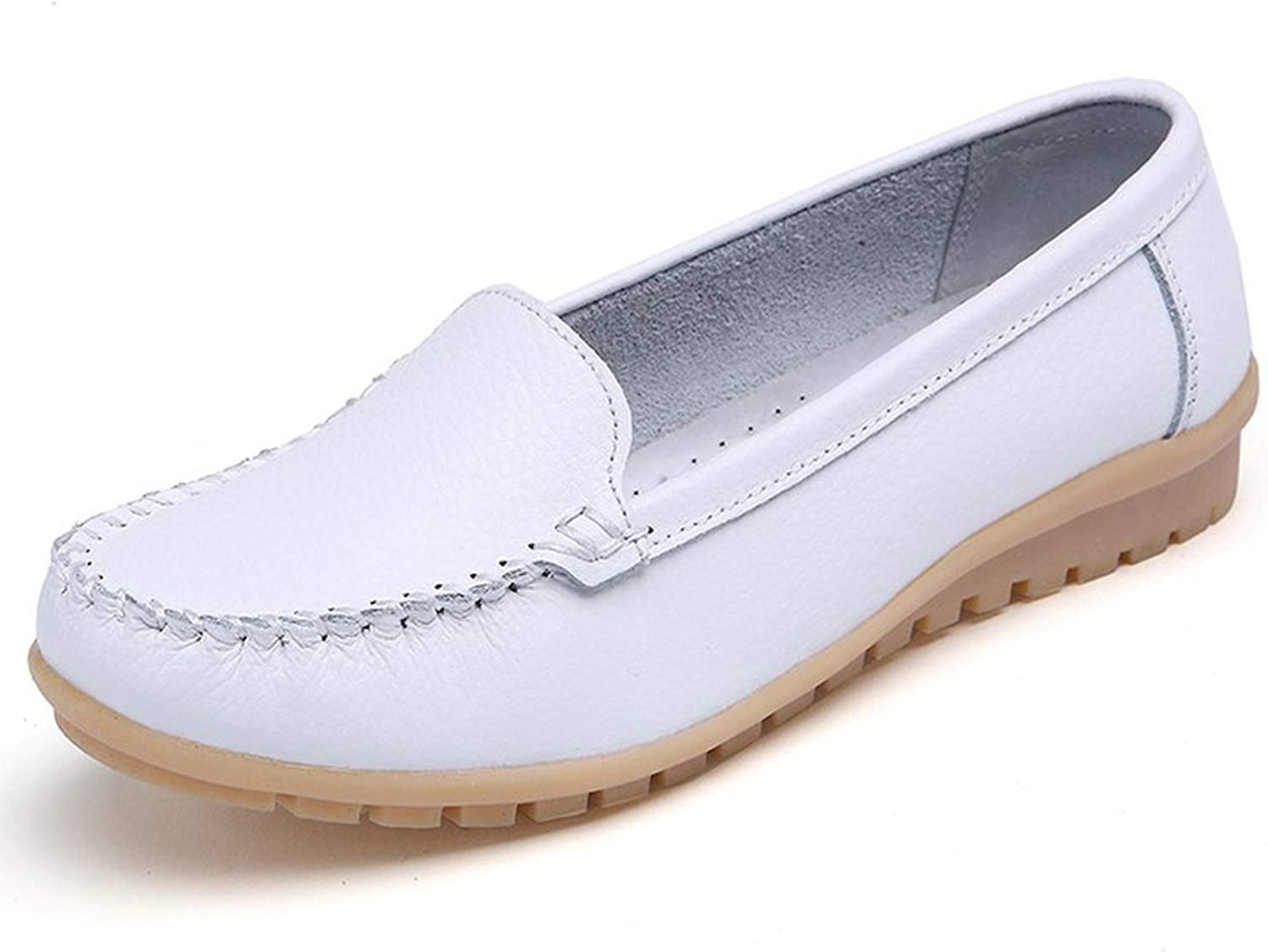 2019 Spring Women Flats shoes Women Genuine Leather shoes Woman Cutout Loafers Slip on Ballet Flats
