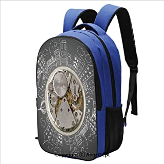 Classical Basic Travel Backpack For School An Alarm Clock with Buildings Clouds