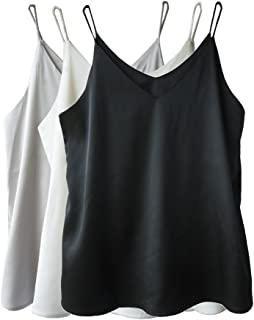 d6afa0effdb01 Wantschun Womens Silk Satin Camisole Cami Plain Strappy Vest Top T-Shirt  Blouse Tank Shirt