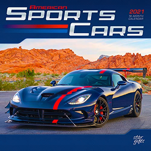American Sports Cars 2021 12 x 12 Inch Monthly Square Wall Calendar with Foil Stamped Cover by StarGifts, Racing Sport