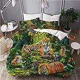 Juego de Funda nórdica de Ropa de Cama 3D Vida Silvestre Naturaleza Tigre Gatos Grandes Animales de la Selva Planta de árbol de Flores botánicas