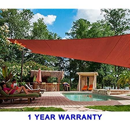 Quictent 20X20FT 185G HDPE Square Sun Shade Sail Canopy 98/% UV Block Outdoor Patio Garden with Free Hardware Kit Red