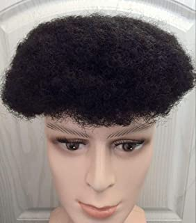 Afro Toupee Curly Full Lace Hair System For African Men #1B OFF Natural Black Hair Pieces 8x10