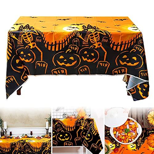 Mantel de Halloween,Decoración de Fiesta de Halloween Mantel,Mantel Calabaza de Halloween,Mantel murciélago de Halloween,para decoración de Fiesta de Halloween en Interiores y Exteriores