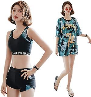 水着 レディース 体型カバー タンキニ ビキニ 3点セット Tシャツ ラッシュガード ショートパンツ 運動風