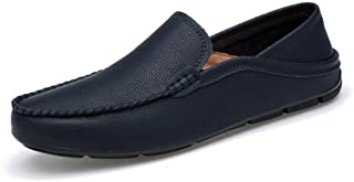 XinQuan Wang Men Drive Loafers for Casual and Refreshing Breathable Genuine Leather Soft Bottom to Prevent Odor A Foot Pedal Lazy Person Boat Moccasins (Color : Blue, Size : 7 UK)
