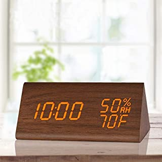 Digital Alarm Clock, with Wooden Electronic LED Time Display, 3 Alarm Settings, Humidity & Temperature Detect, Wood Made Electric Clocks for Bedroom, Bedside, Brown