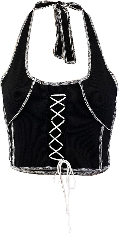 Ladies Sexy Contrast Stitching Halter Ladies Halter Strap Top Summer U-neck Vest Corse Fashion Slim Vest