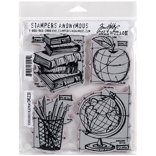 Stampers Anonymous Tim Holtz Cling Rubber Schoolhouse Blueprint Stamp Set, 7 x 8.5 |