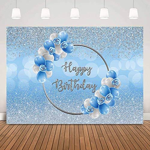 Fondo de Fiesta de Feliz cumpleaños Plateado Brillante Bokeh Azul Globos Florales niños Adultos Fondo fotografía A1 10x10ft / 3x3m