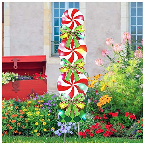 TOPB Outdoor Christmas Decorations -47In Candy Xmas Yard Stakes Signs with String Lights- New Year Giant Holiday Grinch Christmas Decor for Home Lawn Pathway Walkway Candyland Party (1PC)