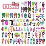 VCOSTORE 110 Stk. Cartoon-Clips Süße Snap-Haarspangen Schöne Metall-Snap-Haarspangen Multiple Style-Clips Haarschmuck für Mädchen