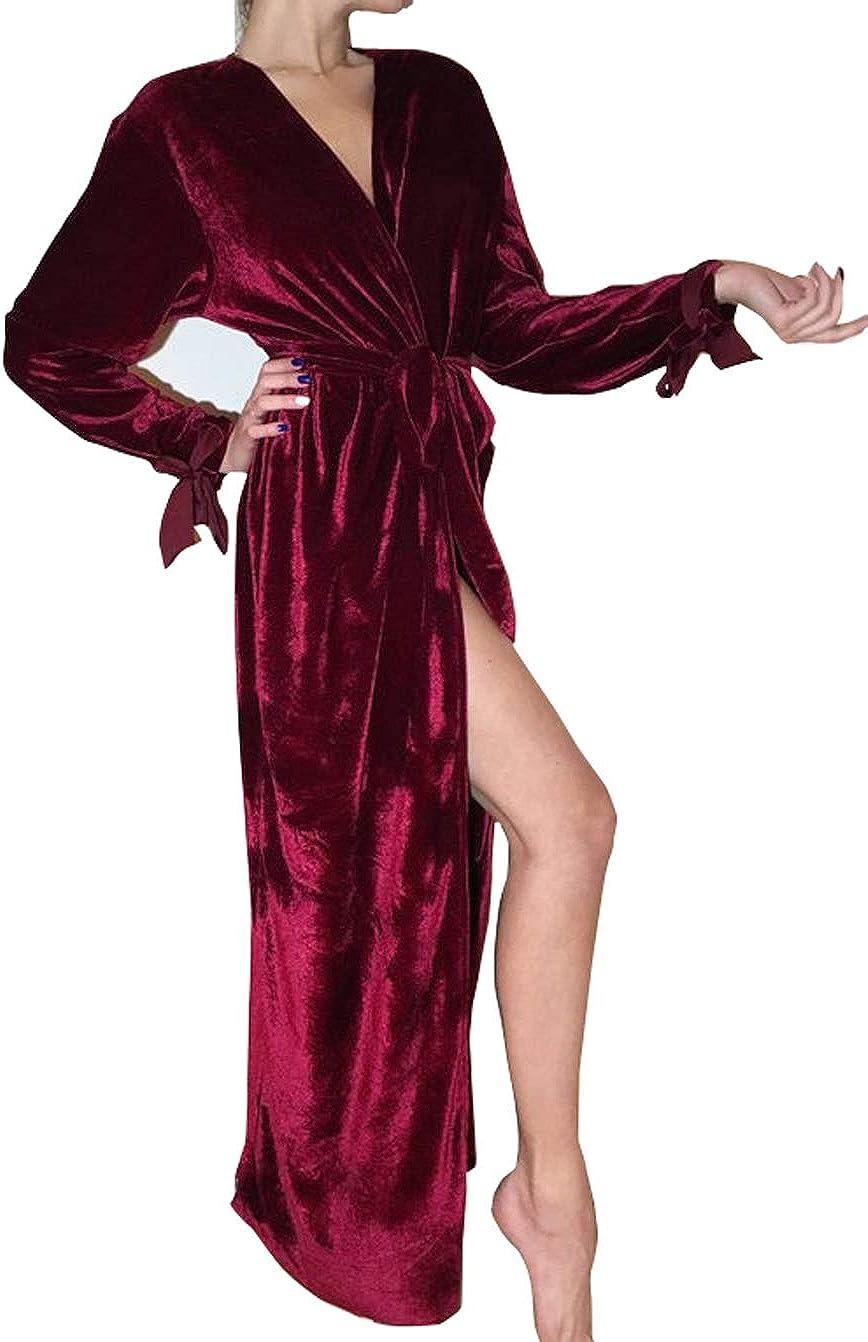 Women's Fresno Mall Long Velvet Robe Maxi Bathrobe Nightgown Year-end gift Belt with