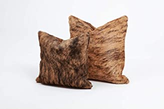 Brown Brindle Genuine Cowhide Pillow Cover - 16x16 Inches or 20x20 Inches (20x20) (16x16)