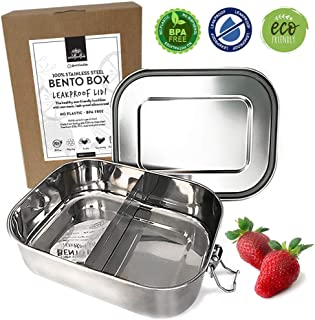 WildFoodLab 100% LEAKPROOF Stainless Steel BENTO LUNCH BOX | Metal Lunch Container, Quality Buckle & Silicone Seal | ECO-friendly, Plastic-Free | for Kids or Adults | 6 CUP/1400 ML Capacity