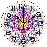 Cy-ril Elegante Boho Lotus Mandala Print Reloj de Pared Redondo Reloj de Escritorio silencioso con Pilas para el hogar, la Oficina, la Escuela