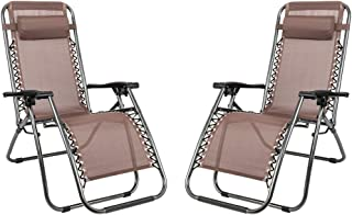 Folding Chaise Lounge 2pcs Plum Blossom Lock Portable Folding Chairs with Saucer Brown