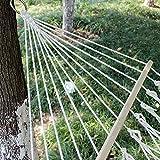 Dongbin Netzhängematte Camping Reise Schlafen Garten Reisebett Baumwollseil Verstärkung Mit Holzstab Doppelaußenschaukel Tragkraft,Gelb - 5