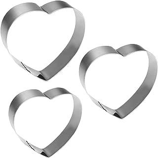 KSPOWWIN 3 Pieces Heart Shape Cookie Cutters Biscuit Sandwich Cutters in Graduated Sizes Shape Molds