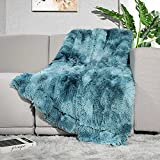 Lvylov Decorative Soft Fluffy Faux Fur Throw Blanket 50' x 60',Reversible Long Shaggy Cozy Furry Blanket,Comfy Microfiber Accent Chic Plush Fuzzy Blanket for Sofa/Couch/Bed,Breathable & Washable,Blue