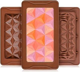 3 قطع قطع قوالب شوكولاتة سيليكون عميق الحلوى بار قوالب سيليكون أشكال سيليكون ، قوالب سيليكون لإذابة الشمع كبير (مجموعة هرم)