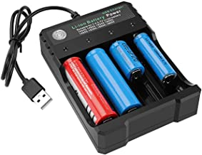 USB Smart Battery Charger 4-Bay 5V 2A for Rechargeable Batteries 3.7V Li-ion TR IMR 1865O..