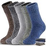 5 Pairs Men Wool Socks, Thick Warm Winter Socks, Hiking Socks Soft Casual Socks for Men(One size...