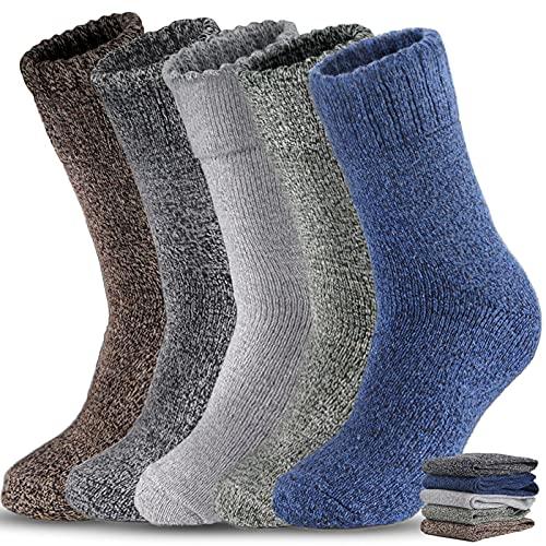 5 Pairs Men Wool Socks, Thick Warm Winter Socks,...