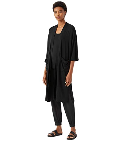 Eileen Fisher Petite Boxy Jacket with Elbow Sleeves in Fine Stretch Jersey Knit