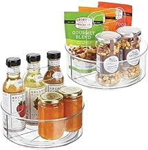 Especiero Giratorio para los armarios de Cocina Transparente Pr/áctico Soporte para Especias de pl/ástico con Dos Compartimentos y asa mDesign Juego de 2 Platos giratorios para estantes de Cocina