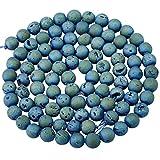 rockcloud Blue Titanium Coated Druzy Agate Geode Loose Beads Round 8mm Strand Healing Reiki Balancing Energy Quartz Crystal