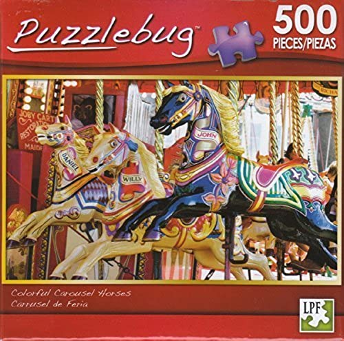 Puzzlebug 500 - Farbeful Carousel Horses by Lpf