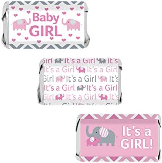 Pink and Gray Elephant Baby Girl Shower Miniatures Candy Bar Wrapper Stickers (Set of 54