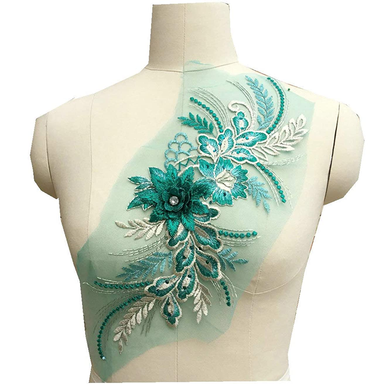 Colorful Large Flower Embroidered Applique for Wedding Dress Consume Clothes Sticker on Dress Supply (Green)