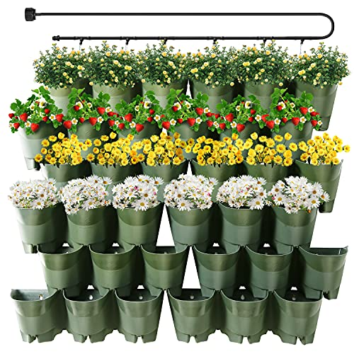 Worth Garden 36 Pockets Self Watering Vertical Planter Indoor Outdoor Living Wall Mounted - Automatic Dripping Irrigation System Kit Stackable Plastic Pot for Herb Plants Home Patio Balcony Decoration