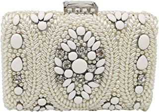 Ladies Evening Bag Beaded Pearl Rhinestone Women's Bag Fashion Exquisite Shoulder Bag Clutch Chain Bag(FM),White