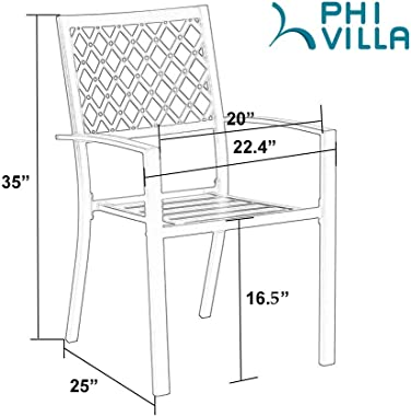 PHI VILLA 2 Piece Patio Wrought Iron Chair Outdoor Dining Set with Armrest - Supports 300 LBS