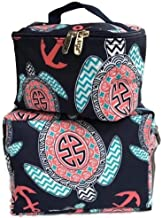 NGIL Cosmetic Makeup Navy Sea Turtle Anchor Toiletry Canvas Bags | Set of 2 | Large Pouch with Top Zipper and Matching Case with Top Carry Handle | Perfect Set for Women