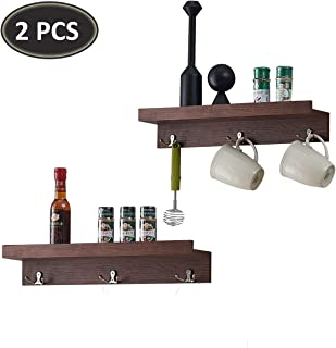 O&K FURNITURE Set of 2 Wall Ledge Shelf with 3 Hooks, Storage Shelf for Kitchen, Entryway and Bedroom (19.8 Inches Length, Espresso-Teak)