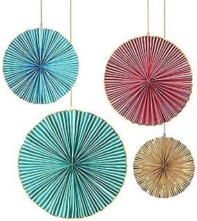 Kit de 4 Abanicos Decorativos Gigantes en Diferentes Colores. Verde, Amarillo, Rojo y Azul