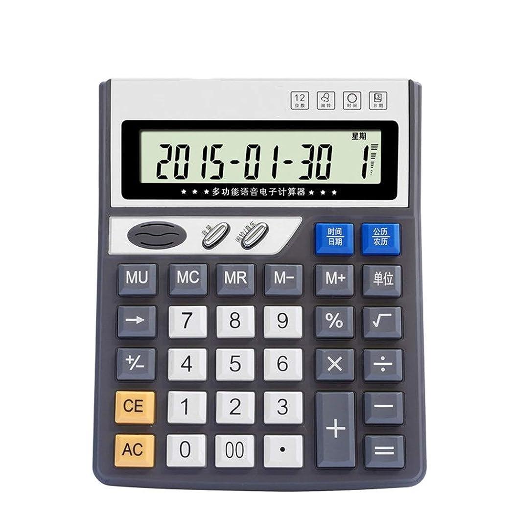 依存頭ダニ電子デスクトップ音声電卓、12ビット大型ディスプレイバッテリーまたは太陽光発電オフィス電卓 標準機能エレクトロニクス電卓