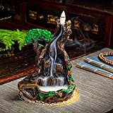 Backflow Incense Waterfall Burner - Mountain Tower Incense Holders - with 150 Backflow Incense Cones+1 Tweezer+1 Mat +30 Incense Sticks for Home Office Yoga Aromatherapy Ornament
